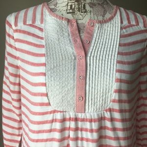 Boden Pink/White Striped Button Blouse